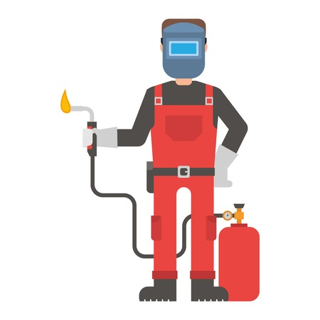 work clothes: Construction worker wearing work clothes working with different tools. Worker man  character design isolated. Person professional worker man.