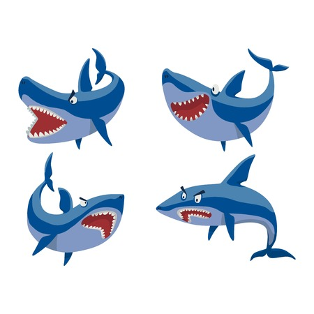 toothy: illustration toothy white swimming angry shark. Animal sea isolated shark character underwater cute marine wildlife mascot. Scary smile cool evil monster shark character funny predator.