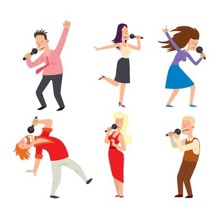songs: Cheerful corporate party singing people with microphone. Karaoke, songs dancing singing people cheerful expression. Happy friends singing karaoke at party singing people music fun concert . Illustration