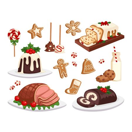 homemade cake: Set of traditional christmas food and desserts holiday decoration. Christmas food xmas sweet celebration dessert. Vector traditional festive winter cake homemade christmas food.