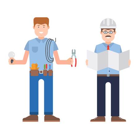 work clothes: Construction worker wearing work clothes working with different tools. Worker man vector character design isolated. Person professional worker man.