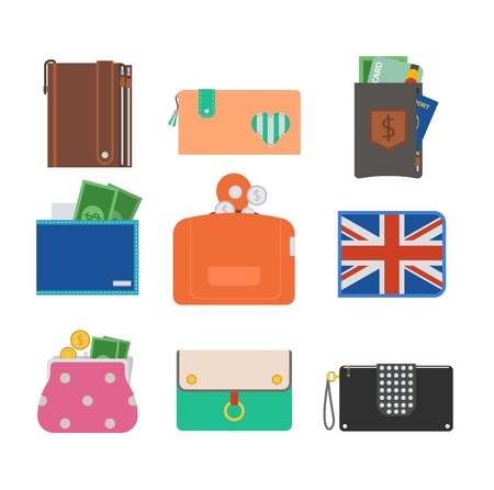 personal banking: Purse wallet with money vector ico for shopping. Shopping buy business purse wallet. Financial payment bag accessory object purse trendy wallet vector. Illustration