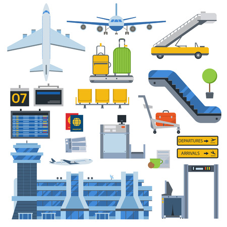 Nice vector concept layout on airport. Travel by airways airport symbols. Airport terminal with control tower, airplanes, runway and more airport symbols. Plane set tourism flight transport.