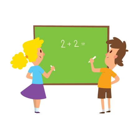 l boy: Group school kids going study together, childhood happy primary education character vector. School kids education and happy children study at primary school. School kids preschool classroom.