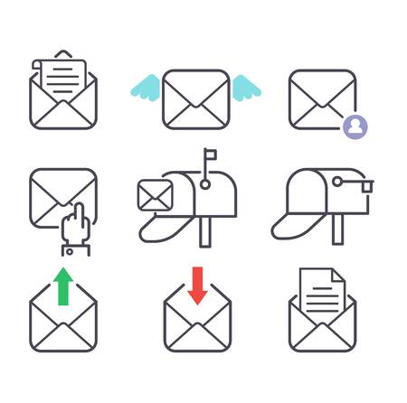 Envelope mail icons plane shopping and other icons for e-mail. Mail icons symbol message letter send. Web communication mail icons address business correspondence interface. Vettoriali