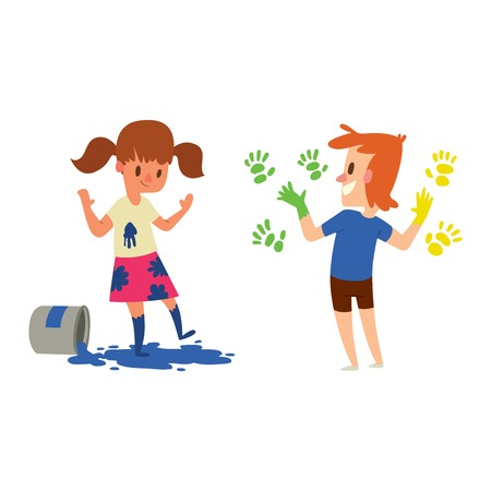 Boy and girl artist kids children. Education artist kids children painting around blank canvas with space for text. Creative little artist kids children preschool colorful characters vector. Illustration