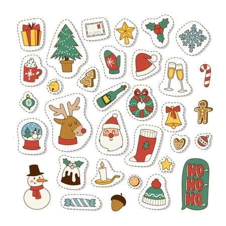 I simboli delle icone di Natale per i simboli della cartolina d'auguri vector la progettazione della celebrazione dell'inverno. Icone della decorazione di inverno di feste di simboli di Buon Natale. Simboli disegnati a mano di Natale della cartolina d'auguri del nuovo anno.
