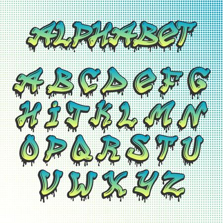graffity: Hand drawn grunge font paint symbol design set. Detailed vector alphabet graffiti grunge font text brush graphic ink. Graffiti grunge font style texture typeset dirty art artistic.