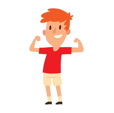 male portrait: Cute little strong young boy showing off his biceps flexing his arm. Person male portrait strong young boy. Handsome casual strong young boy smile people fitness lifestyle vector character. Illustration