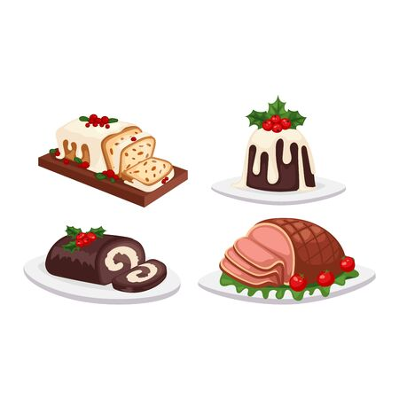 meatloaf: Set of traditional christmas food and desserts holiday decoration. Christmas food xmas sweet celebration dessert. Vector traditional festive winter cake homemade christmas food.