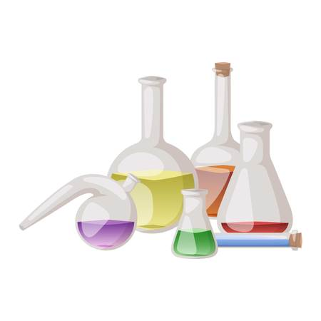 Chemical laboratory vector lab flask glassware tube liquid biotechnology analysis. Set of lab flask tubes medical scientific equipment. Chemistry experiment research test science glass lab flask.