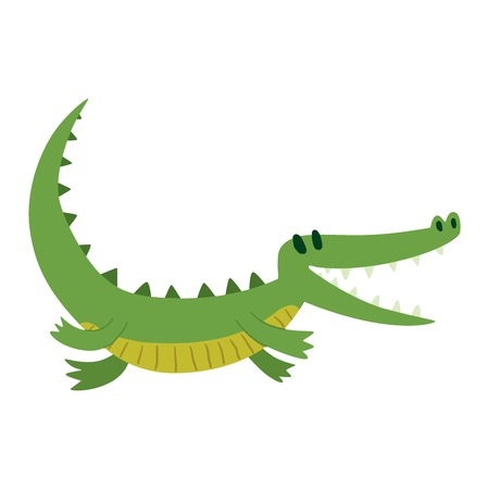 Cute cartoon crocodile character green zoo animal. Cute crocodile character doodle animal like a toy with teeth. Happy predator crocodile character mascot comic color vector icon. Illustration