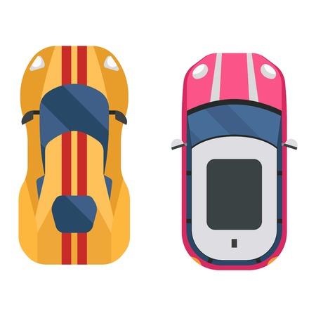 Vector auto pictogram geïsoleerd. Van bovenaf auto bovenaanzicht. Vervoer collectie ontwerpen van voertuigen auto bovenaanzicht motor.
