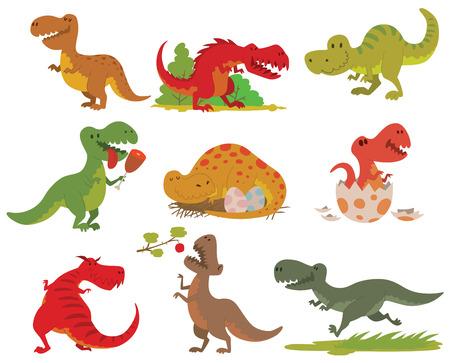 공룡 만화 컬렉션입니다. 귀여운 t-rex tyrannosaurus 익룡 장난감 캐릭터. 벡터 동물 T- 렉스 공룡 tyrannosaurus 괴물입니다. 파충류 동물 T- 렉스 공룡 만화 위험 육식 동물입니다.