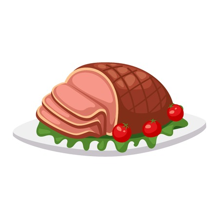 appetizers: Homemade ground beef meatloaf with berries and spices. Food beef baked pork dinner meatloaf vector sauce traditional herb sliced meat. Homemade slice meatloaf cooked prepared delicious gourmet food. Illustration