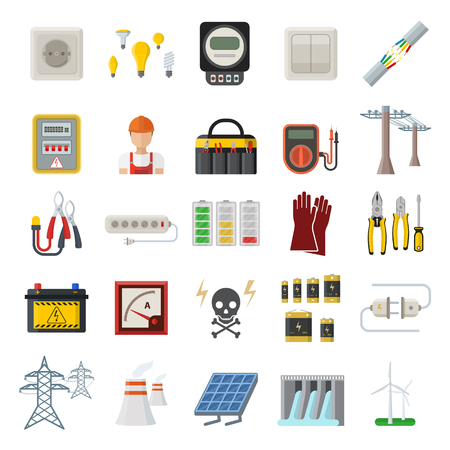 power station: Energy, electricity, power icons. Wind ecology sun energy icons illustration oil battery vector. Energy icons environment, electricity vector solar bulb water nature renewable. Illustration