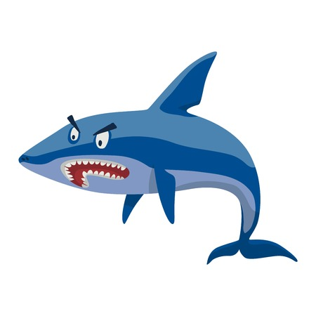 toothy smile: Vector illustration toothy white swimming angry shark. Animal sea isolated shark character underwater cute marine wildlife mascot. Scary smile cool evil monster shark character funny predator.
