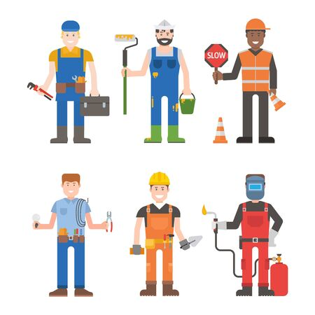 work clothes: Construction worker wearing yellow helmet and overall work clothes working with different tools. Set of workers man vector character design isolated. Business person professional workers man.
