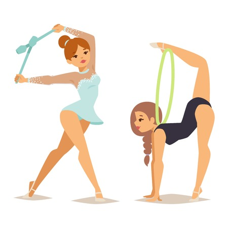 flexible woman: Girl figures performing gymnastic exercises with mace hoop and tapes isolated vector illustration. Gymnast girl artistic and rhythmic gymnastic exercise. Gymnast girl young exercise fitness