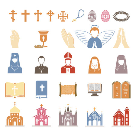 catholicism: Vector christian religion icons set. Religion icons god cross catholicism religious vector icon. Set peace bible religion icons prayer traditional culture silhouette temple illustration. Illustration