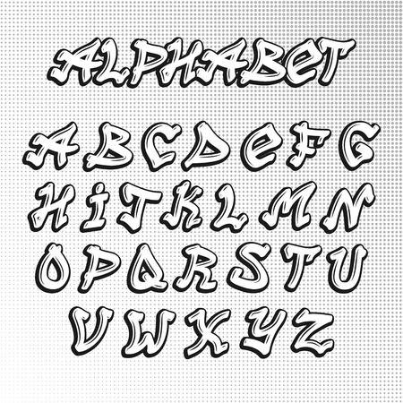 Graffiti letras del alfabeto de la fuente del bosquejo de la pintura urbana carta artística. Tipo de salto de diseño de la fuente de alfabeto de graffiti hip. La caligrafía del arte del vector de fuente tipográfica diseño de la pintada componer la ilustración del texto.