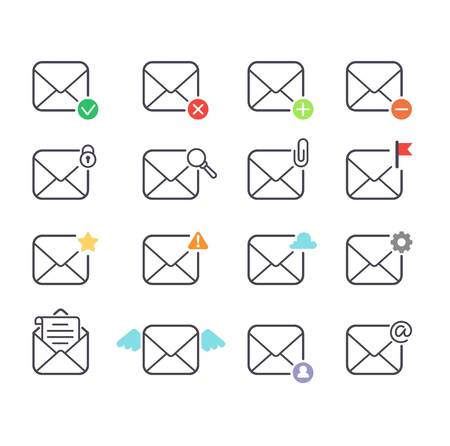 mail icons: Envelope mail icons plane shopping and other icons for e-mail. Mail icons symbol message letter send. Web communication mail icons address business correspondence interface. Illustration