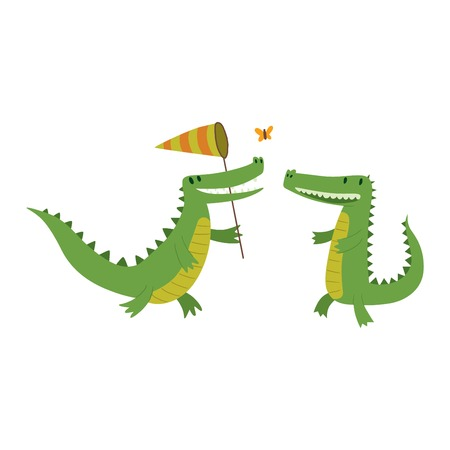 alligators: Cute cartoon crocodile character green zoo animal. Cute crocodile character doodle animal like a toy with teeth. Happy predator crocodile character mascot comic color vector icon. Illustration