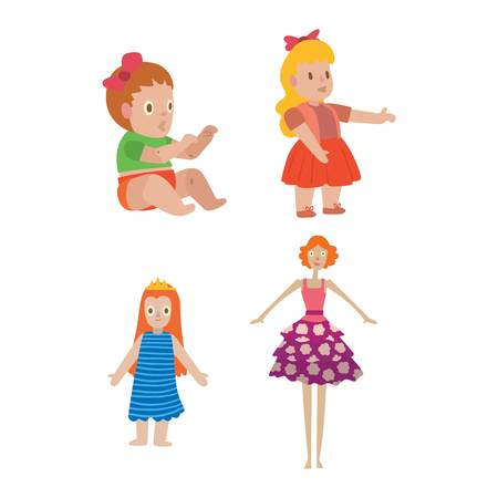 small group of objects: Cute girl doll character for game design vector illustration. Funny childhood play baby doll girl toy character like human. Handmade plastic doll toys beautiful colorful cartoon charcater girl.