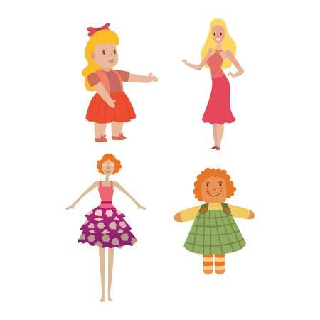 Caracter De La Muneca Linda Chica Para La Ilustracion De Juego Del