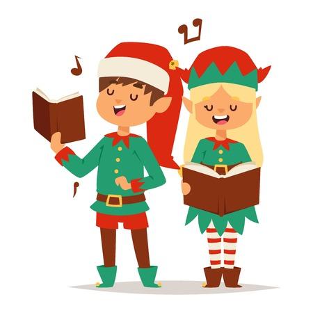 santa helper: Santa Claus kids cartoon elf helpers vector illustration. Santa Claus elf helpers children. Santa helpers traditional costume isolated on background. Santa elf helpers christmas kids
