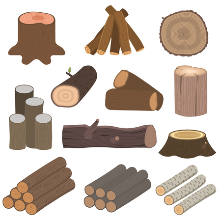 raw materials: Stacked wood pine timber for construction buildings. Cut lumber wood materials logs vector set. Natural forest stack pile wood materials logs rough bark pattern abstract construction.