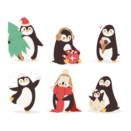 scarp: Penguin set vector illustration character. Cartoon funny penguins different situations. Penguin vector cute birds posing. Christmas holiday penguins