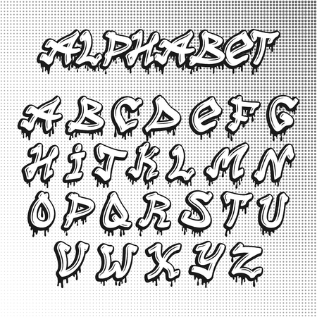 Graffiti font alphabet letters urban paint sketch artistic letter. Hip hop type alphabet abc graffiti font design. Calligraphy vector art design typeset typographic illustration text.