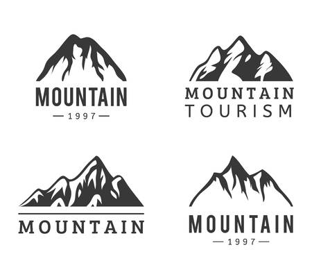 mountain silhouette: Mountain vector icons set. Set of mountain silhouette elements. Outdoor icon snow ice mountain tops, decorative symbols isolated. Camping mountain logo, travel labels, climbing or hiking badges