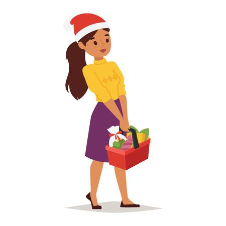 family shopping: Collection going shopping girl christmas celebrate with shopping bags. Shopping people woman girl with bags in Santa red hats. Xmas tree, family shopping and sale days