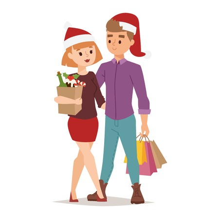 family shopping: Collection going shopping people christmas celebrate with shopping bags. Shopping people woman and man with bags in Sant red hats. Shopping people collection, Xmas tree, family shopping and sale days
