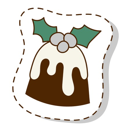 Sweet Christmas cookie cake isolated on white. Traditional Christmas sweet cake holliday vector. Cake cookie for New Year food sweet vector. Food fresh cookie isolated Illustration