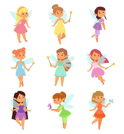 Cute collection of beautiful princesses fairy vector character set. Collection style fairies cartoon characters little girls. Princess fashion fairytale costume, magic fantasy cute dress crown girl.