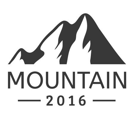 ice mountain: Mountain vector icon badge. Mountain silhouette elements. Outdoor icon snow ice mountain tops, decorative symbols isolated.