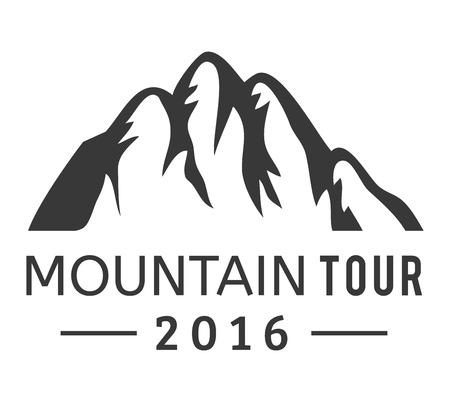 mountain silhouette: Mountain vector icon badge. Mountain silhouette elements. Outdoor icon snow ice mountain tops, decorative symbols isolated.