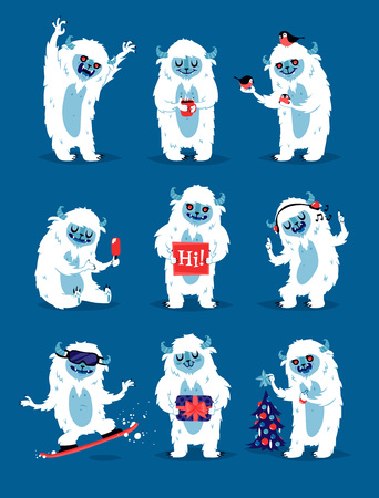 Cute yeti biigfoot monsters vector set.. Color winter character funny design element. Humour emoticon fantasy monsters unique expression sticker isolated. Fantasy mascot crazy animal