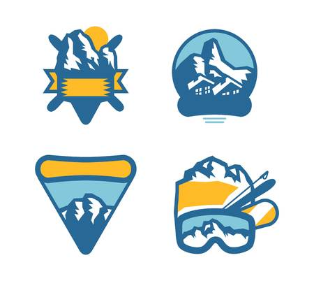 ice mountain: Mountain vector icons set. Set of mountain silhouette elements. Outdoor icon snow ice mountain tops, decorative symbols isolated. Camping mountain  , travel labels, climbing or hiking badges