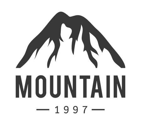 ice mountain: Mountain vector icon badge. Mountain silhouette elements. Outdoor icon snow ice mountain tops, decorative symbols isolated. Camping mountain logo, travel label, climbing or hiking badge