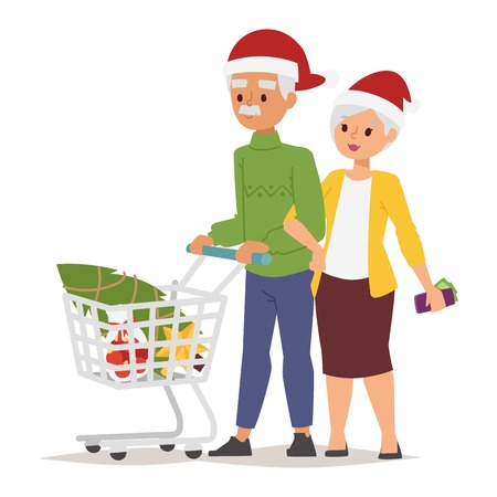happy shopper: Collection going shopping people christmas celebrate with shopping bags. Shopping people woman and man with bags in Santa red hats. Shopping people collection, Xmas tree, family shopping and sale days