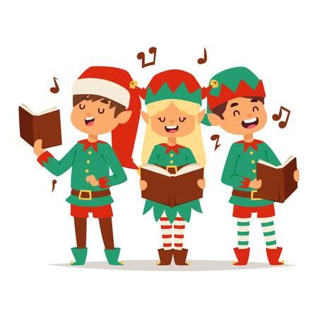 Santa Claus kids cartoon elf helpers vector illustration. Santa Claus elf helpers children. Santa helpers traditional costume isolated on background. Santa elf helpers christmas kids Vektoros illusztráció