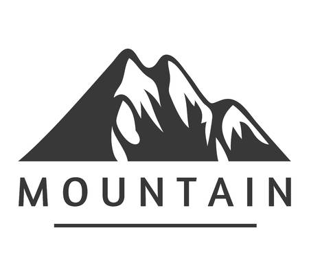 Mountain icon badge. Mountain silhouette elements. Outdoor icon snow ice mountain tops, decorative symbols isolated. Camping mountain , travel label, climbing or hiking badge