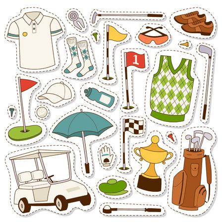 벡터 양식에 일치시키는 골프 아이콘 취미 자동차 장비를 설정합니다. 컬렉션 카트 플레이어 골프 아이콘 스포츠 기호 플래그 구멍 골프 게임. 벡터 기호 패치 세트 가방 골프 아이콘 취미 골퍼 자동차 장비입니다. 스톡 콘텐츠 - 66595495