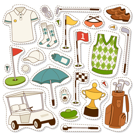 Vector set of stylized golf icons hobby car equipment. Collection cart player golf icons sport symbol flag hole golf game. Vector sign patch set bag golf icons hobby golfer car equipment.