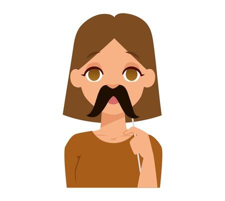 transexual: Barba y divertidos Omán emoji icono de la cara y de la mujer emoji bigote cara linda símbolo. emoción niñas se enfrenta ilustración vectorial de dibujos animados. emoji mujer cara feliz. Cara linda transexual