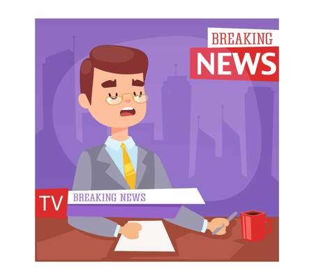 Ilustración del vector del presentador de noticias de última hora y la pantalla de la TV diseño. entrevista profesional lector de noticias de noticias de última hora de anclaje. La comunicación de difusión locutor romper periodista presentador de noticias.